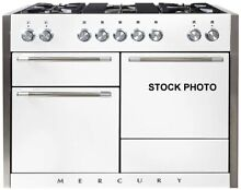 AGA 48  DUAL FUEL RANGE IN WHITE 3 OVENS 5 BURNERS GLIDE OUT BROILER
