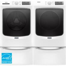 Maytag 4 8 Cu  Ft  White Front Load Steam Washer and 7 3 Electric Dryer