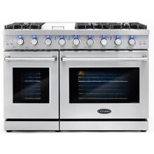 Cosmo COS EPGR486G 48 in  Stainless Steel Double Oven Gas Range with 6 Burners