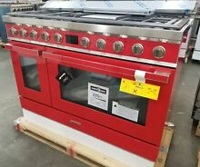 SMEG PORTOFINO 48 INCH RED DUAL FUEL RANGE SEALED BURNERS AND CONVECTION OVEN