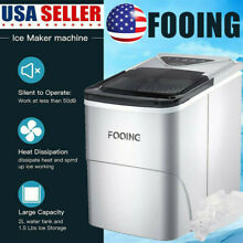 Portable Countertop Electric Ice Cube Maker Machine 26Lbs 24H Two Ice Size