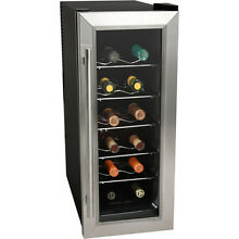 Koldfront 12 Bottle Slim Fit Wine Cooler  Stainless Steel Thermoelectric Chiller