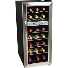 Dual Zone 21 Bottle Stainless Steel Wine Cooler  Compact Countertop Refrigerator