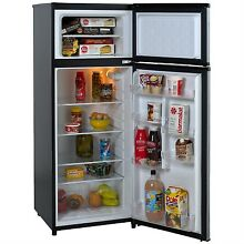7 4 Cubic Feet Refrigerator with Top Freezer in Black w  Platinum Finish