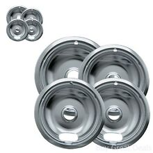 Range Kleen Chrome Electric Stove Replacement Drip Pans Bowls Burner