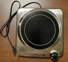 Brentwood Electric Single Burner Cast Iron Hot Plate Stove Top Silver Kitchen 1
