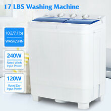 17LBS Portable Mini Washing Machine Compact Twin Tub Laundry Washer Spiner Dryer