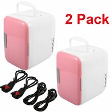 2 Pack Portable Mini Fridge Cooler   Warmer Auto Car Home Office AC   DC Pink AS
