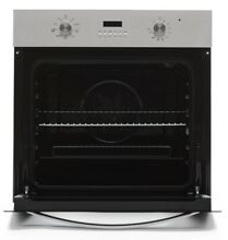 HYAKI 24  Tempered Glass Electric Built in Single Wall Oven Black and Silver