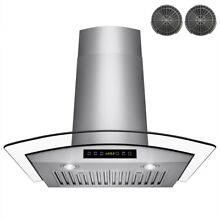 AKDY30  Convertible Wall Mount Range Hood Stainless Steel with Tempered Glass