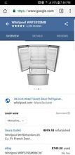 Whirlpool WRF535SMBM 25 cu  ft  French Door Refrigerator