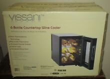 Vissani 6 Bottle Countertop Wine Cooler Mini Fridge NEW  MVWC6B