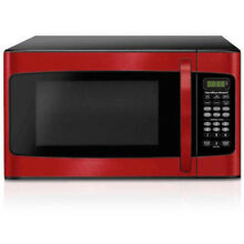 Hamilton Beach 1 1 cu FT Child Safe Microwave Oven Red 1000W LED Display