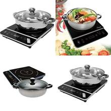 1800W Electric Induction Cooktop Stove With Stainless Steel Pot Burner Cookware