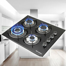 24  Black 4 Burners LPG NG Gas Hob Stove CooktopsTempered Glass Built in Kitchen