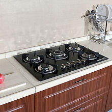 30  Black Stove Tempered Glass Built in Kitchen 5 Burner Gas Hob Cook Tops