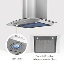 Kenwell 30  Stainless Steel Range Hood Stove Vent Fan With LED Control Kitchen