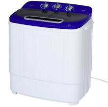 Portable Compact Mini Twin Tub Laundry Washing Machine and Spin Cycle  13lb Load