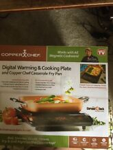 Nib never used copper chef digital warming and cooking plate with casserole pan