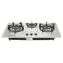 30  Stainless Steel 3 Burners Built In Cooktop NG LPG Gas Cooker Cooktops