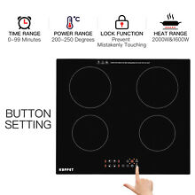 Built in Electric 4 Burner Induction Portable Cooker Cooktop Touch Panel Ceramic