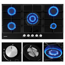 34  Built in Cooktop Stove LPG NG Gas Hob w 5 Burners Countertop Tempered Glass