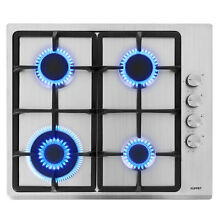 24  Built In Black Tempered Glass NG LPG Gas Stove Cooktop with 4 Burners