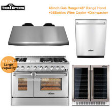 Thor Kitchen 48 Gas Range Double Oven 6 Burners Cooktop  36 Bottles Wine Cooler