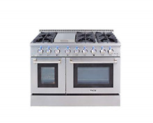 Thor Kitchen Gas Range with 6 Burners and Double Ovens  Stainless Steel