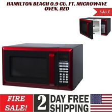 Hamilton Beach 0 9 Cu  Ft  Microwave Oven  Red Stainless Steel 900W Child lock