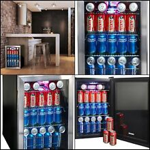Small Mini Beverage Cooler Refrigerator Fridge Glass Door Perfect Soda Beer Wine