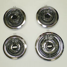 Range Elements Burners Set 4pk w Chrome Drip Pans Bowls Whirlpool Stove Cook Top