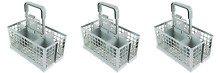 Qualtex Universal Dishwasher Cutlery Silverware Basket Holder Grey  Pack of 3