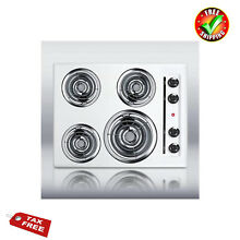 Electric Stove Top 4 Burners Cooktop Range 24 Kitchen Stainless Steel High Power