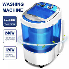 7LBS Mini Portable Compact Washing Machine Semi Automatic Spin Washer Blue