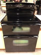 Maytag Gemini  Elec Range Stove  Double Oven  Black  Glass Top  Self Cleaning