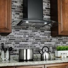 AKDY36 in  Convertible Stainless Steel Wall Mount Range Hood in Black with LED