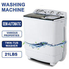 21LBS Mini Semi Automatic Compact Washing Machine Twin Tub Washer Spiner Laundry