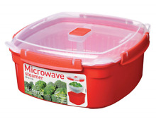 New Sistema Microwave Large Red Steamer with Removable Steamer Basket  3 2 Ltr