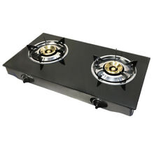 Portable 28  Glass Top Propane Double Stove Dual Gas 2 Burner 20 000 BTU h