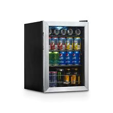 Beverage Cooler and Refrigerator  Small Mini Fridge with Glass Door  84 Can