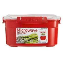 Sistema Microwave Medium Steamer with Removable Steamer Basket  2 4L   Red Clear
