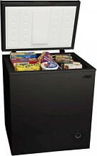 Compact Meat Freezer Food Chest Large Cooler Removable Storage Basket Black Home