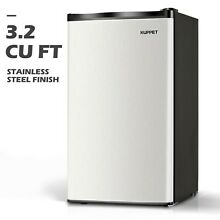 3 2 CU FT Mini Refrigerator Compact Fridge Freezer Stainless Steel Freestanding