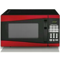 Hamilton Beach 0 9 Cu Ft  Microwave Oven Red Stainless Steel Kitchen Appliance