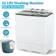 26 LBS Portable Washing Machine Compact Twin Tub Laundry Spin Dryer w Drain Pump
