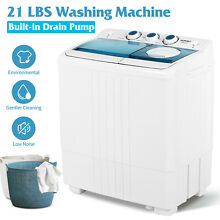 21 LBS Portable Mini Washing Machine Compact Twin Tub Spiner Dryer w  Drain Pump