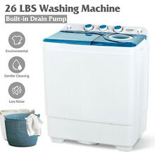 26 LBS Twin Tub Mini Washing Machine Compact Laundry Spinner Dryer w  Drain Pump