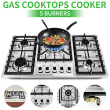 For Cook Top Stove 33 8  Stainless Steel 5 Burners Gas Cooktop Built in Stove