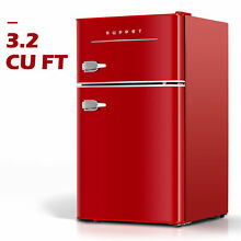 3 2 Cu Ft Retro Mini Fridge 2 Door Compact Small Refrigerator Home Office Red